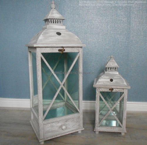 Rectangular Lantern with Cross Detail (Set Of 2)